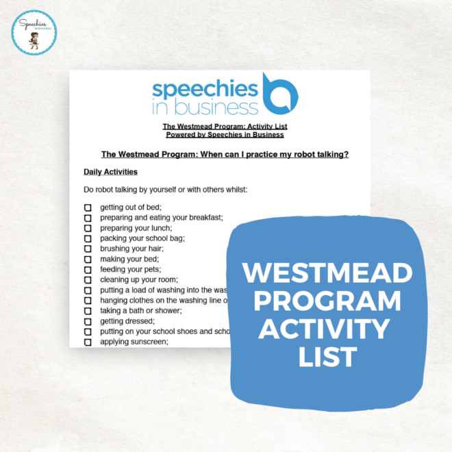 Westmead program activity list
