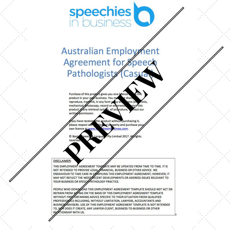 Australian Employment Agreement Template for Speech Pathologists – Casual Employment Agreement